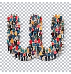 Group people shape letter W Transparency vector