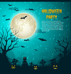 halloween party night moon poster vector image