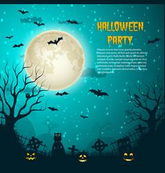 Halloween party night moon poster vector