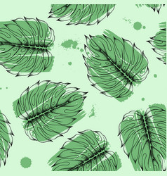 hand drawn monstera leaves seamless pattern vector image