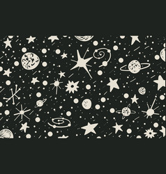 Hand drown scratch style night sky background vector