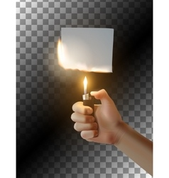 Hand with lighter on transparent background vector image