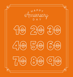 happy anniversary card with decades vector image