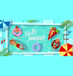hello summer swimming pool vector image