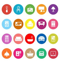 Home furniture flat icons on white background vector image