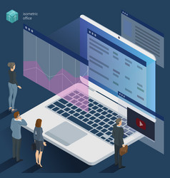 Isometric 3d flat design office work vector