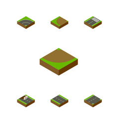 isometric road set of footer repairs down and vector image