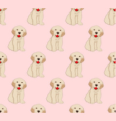 Labrador golden retriever dog seamless on pink vector