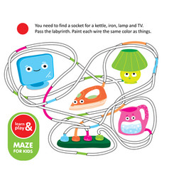 logic game for kids maze with kettle iron tv and vector image