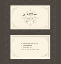 luxury business card and vintage ornament logo vector image