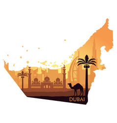 map of the uae with the skyline of dubai the vector image
