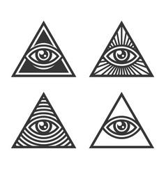 Masonic illuminati symbols eye in triangle sign vector