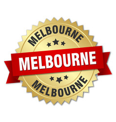 Melbourne round golden badge with red ribbon vector