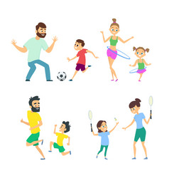 mother and father playing in active games vector image