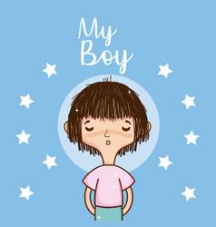 my boy cute cartoon card vector image