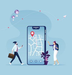 Navigation app with map and location pin vector