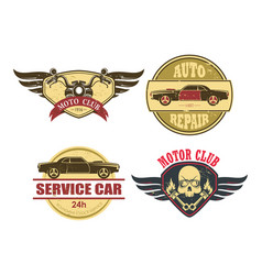 Old car motorcycle repair services garage icons vector