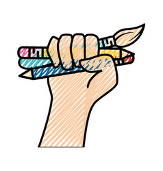 pencil marker and paint brush vector image