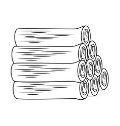 pile wooden trunks icon vector image