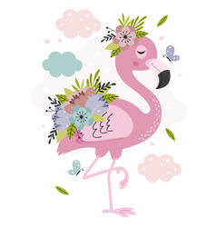 Poster with lovely floral pink flamingo vector