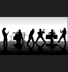 Rock band silhouette on stage vector