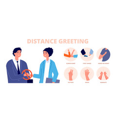 safe greetings distance contact no handshake vector image