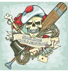 Sailor skull logo design - Sailing Collection vector image
