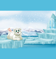 scene with cute polar bear on ice vector image