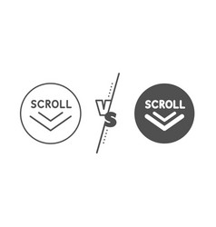 scroll down arrow line icon scrolling screen sign vector image