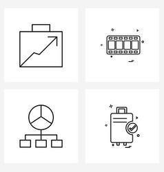 Set 4 modern line icons arrow media chart vector