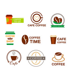 set coffee logo for a coffee shop cup glass vector image