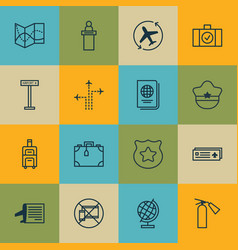 set of 16 airport icons includes flight path vector image