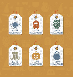 Set of six grunge gift tags for halloween vector