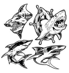 Shark set angry black mascot vector