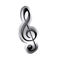 Sign music treble clef icon relief vector