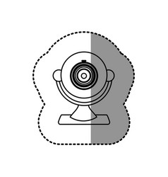 Silhouette computer camera icon vector