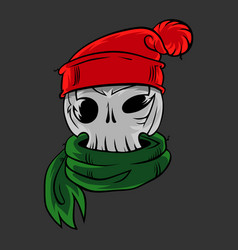 skull in a winter hat and a scarf vector image