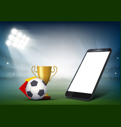 Smartphone with white screen on soccer field vector
