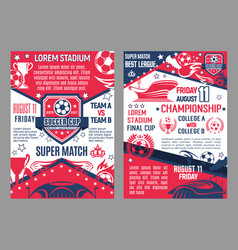 Soccer cup posters stadium super match vector