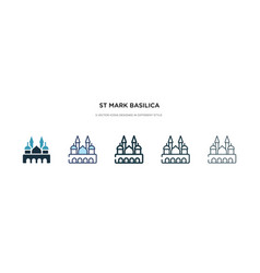 St mark basilica icon in different style two vector