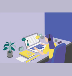 student learning online sitting at desk looking vector image