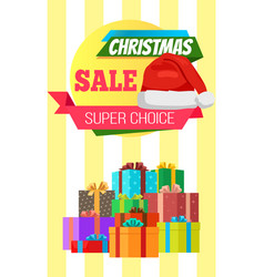 Super choice christmas sale poster wrapped present vector