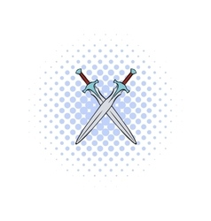 Swords crossed comics icon vector