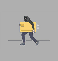 thief in mask steal golden credit card vector image