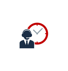 Time call center logo icon design vector