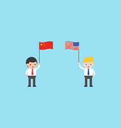 Two businessmen with flag china and flag vector
