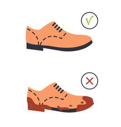 Unclean dirty and clean footwear brown color flat vector