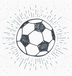 Vintage label hand drawn football soccer ball vector