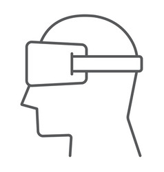 virtual reality glasses thin line icon electronic vector image