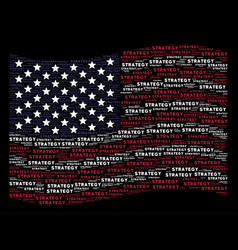 Waving american flag stylization strategy text vector